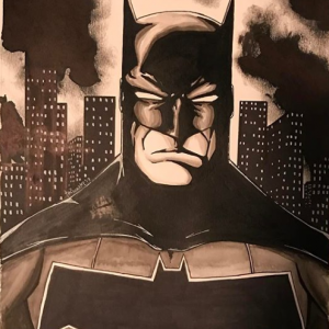 Batman Ink Wash Print of Original Art by Todd Plumblee