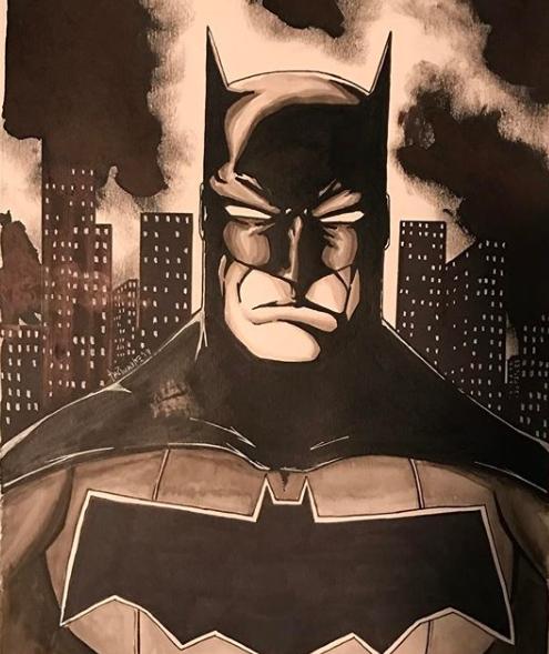 Batman Ink Wash Print of Original Art by Todd Plumblee