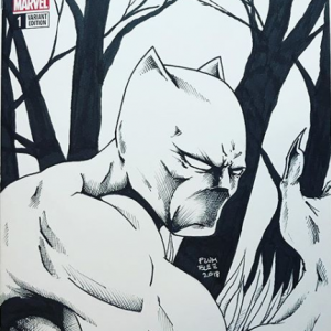 Original Art of Black Panther on a Black Panther blank variant by Todd Plumblee